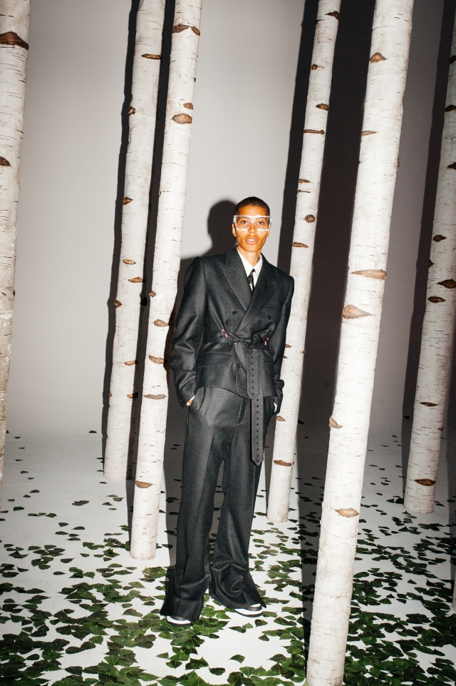 Poet and activist Kai-Isaiah Jamal models a look from Virgil Aboh's spring 2022 men's collection for Louis Vuitton.