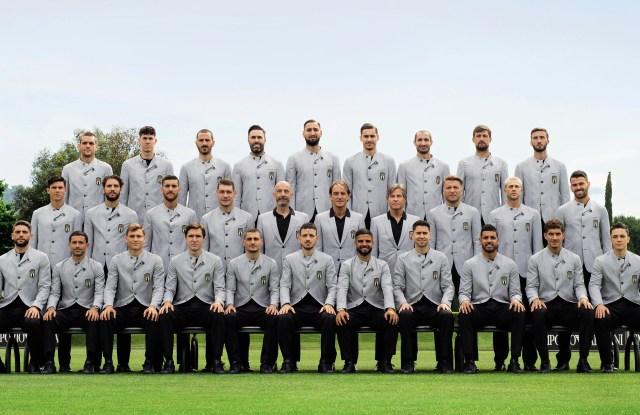 The Italian soccer team sporting the Emporio Armani off-field uniforms.