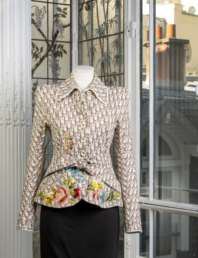 Christian Dior Oblique-pattern jacket with floral embroideries, spring 2005.