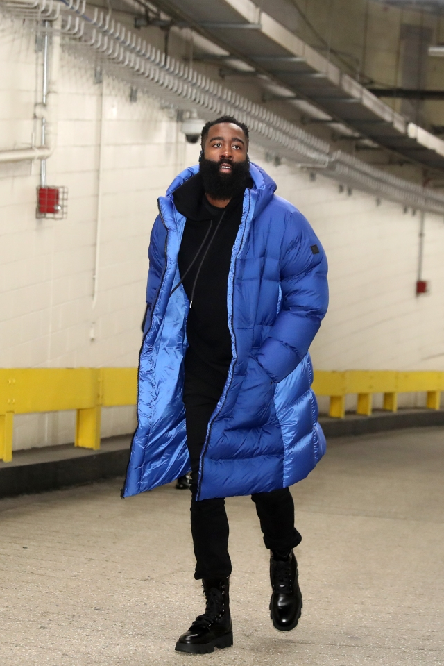 NEW YORK, NY - MARCH 2: James Harden #13 of the Houston Rockets arrives prior to a game against the New York Knicks on March 2, 2020 at Madison Square Garden in New York City, New York.  NOTE TO USER: User expressly acknowledges and agrees that, by downloading and or using this photograph, User is consenting to the terms and conditions of the Getty Images License Agreement. Mandatory Copyright Notice: Copyright 2020 NBAE  (Photo by Nathaniel S. Butler/NBAE via Getty Images)