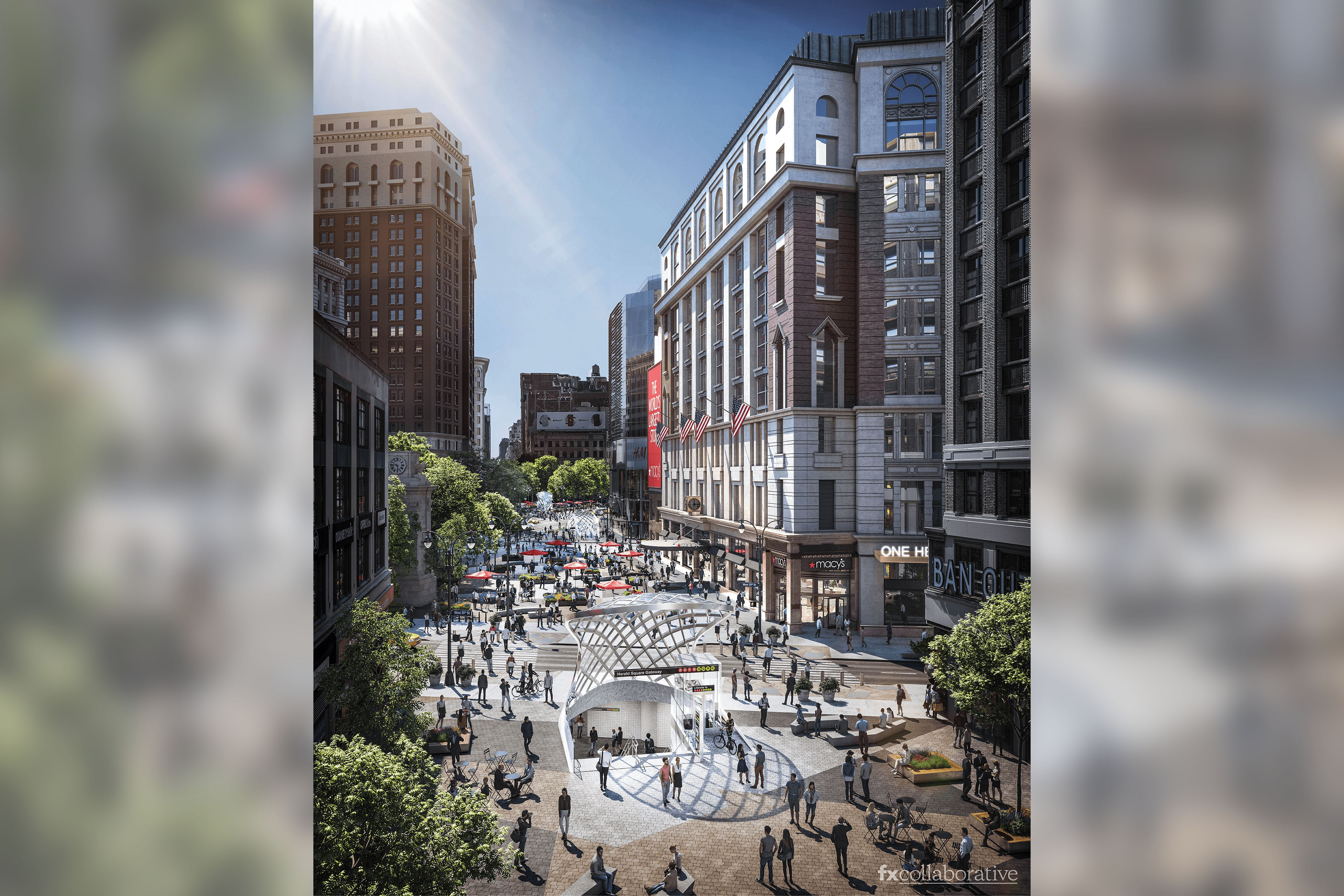 Rendering of an upgraded, pedestrian-friendly Herald Square in the future.