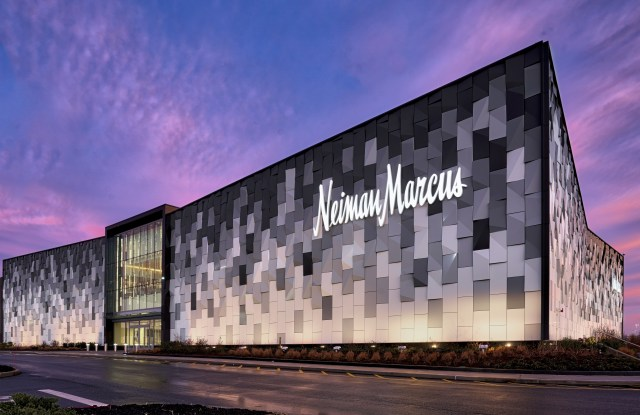The lit Neiman Marcus exterior at the Roosevelt Field Mall in Garden City, N.Y.