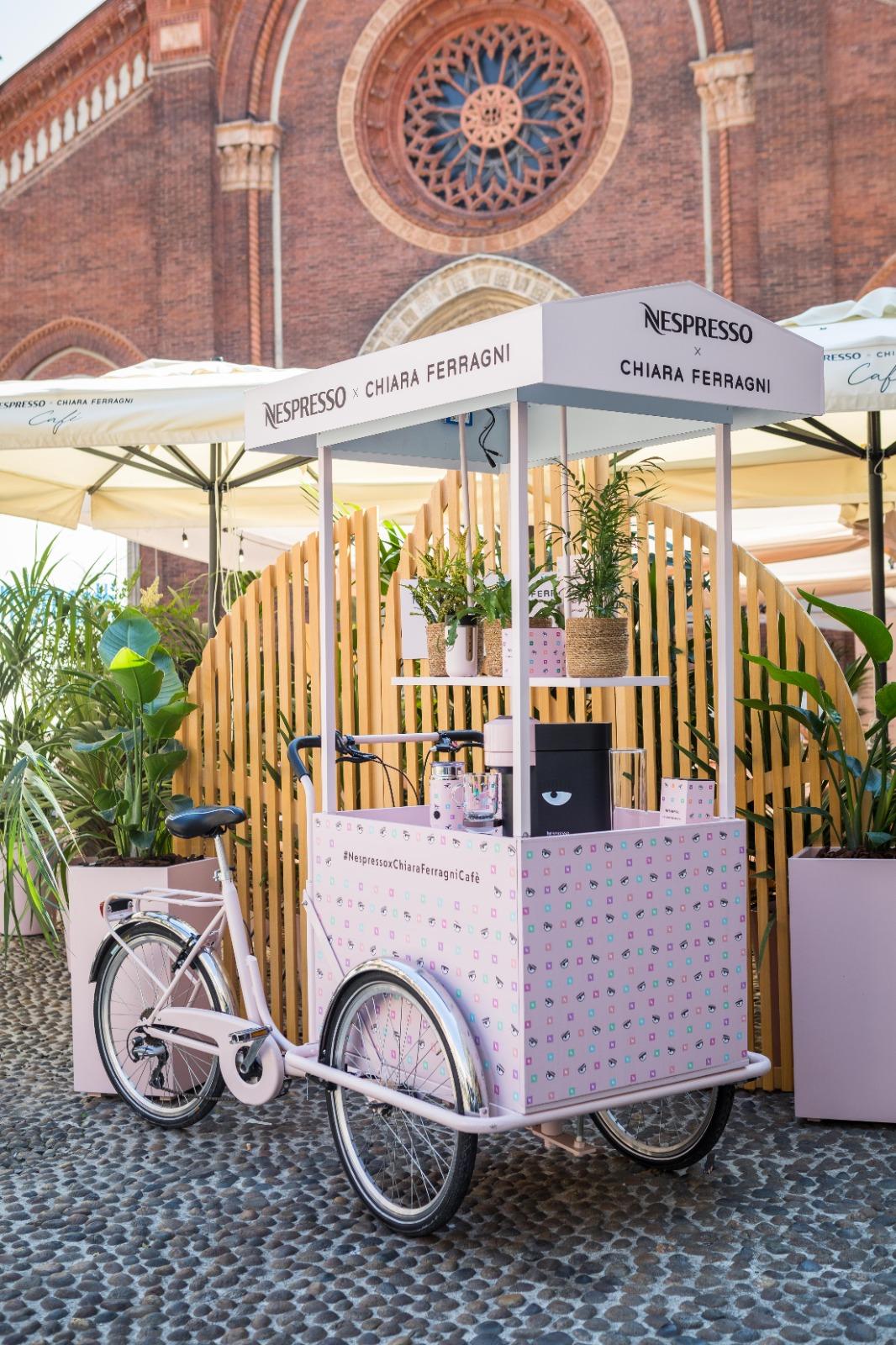 The Nespresso x Chiara Ferragni temporary café in Milan's arty Brera district.