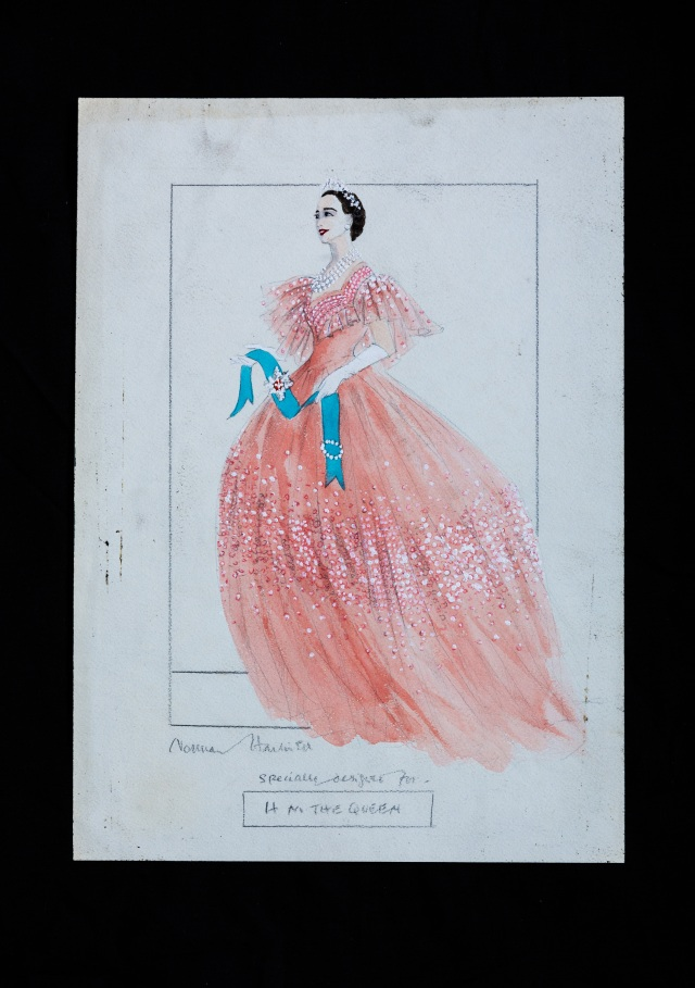 A drawing by Norman Hartnell for Queen Elizabeth the Queen Mother.
