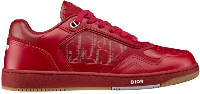 Dior World Tour B27 sneakers in red calfskin.