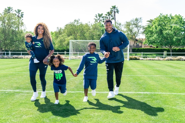 Ciara and Russell Wilson and their kids wearing 3Brand.