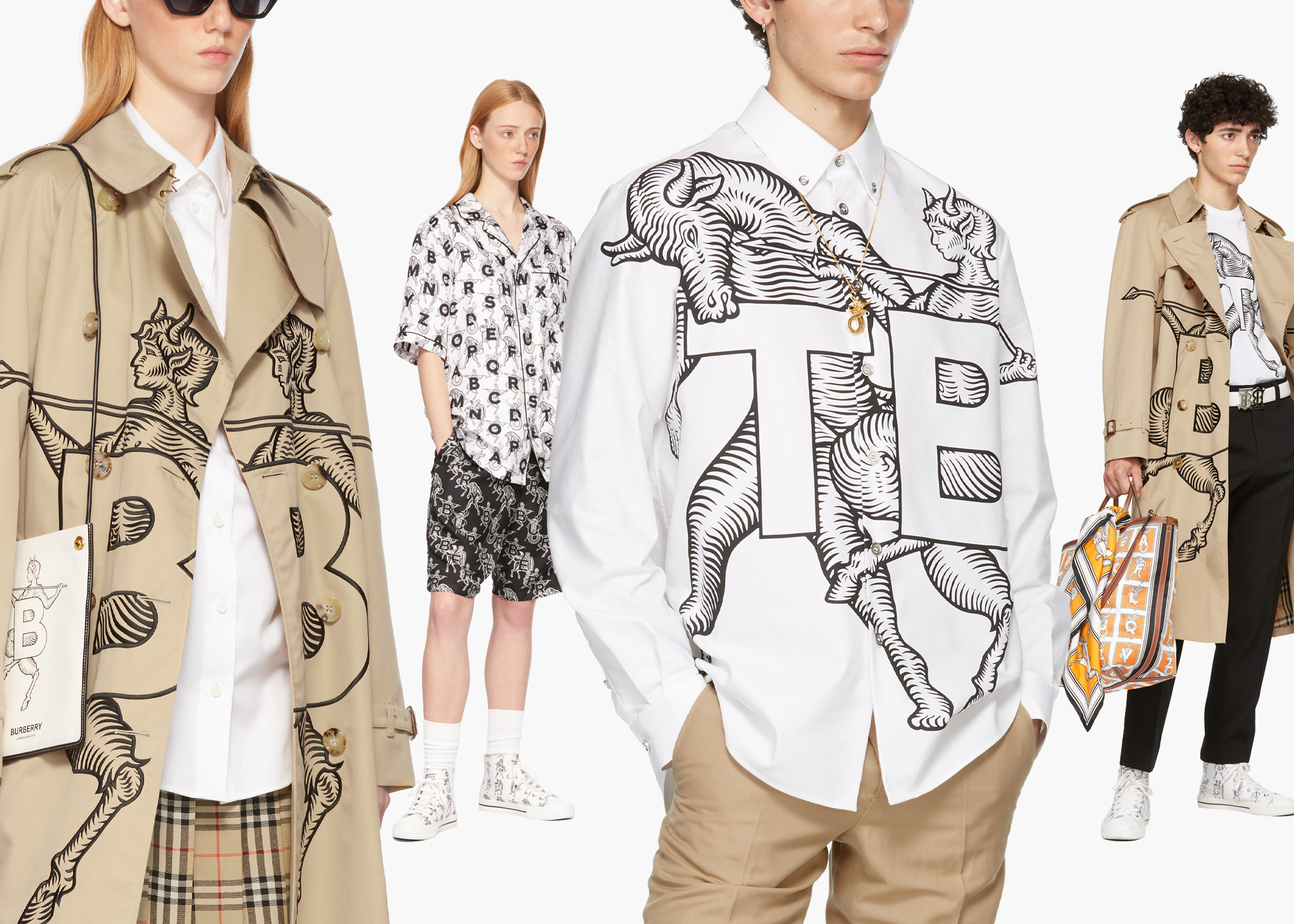 Some looks from Burberry's Mythical Alphabet capsule collection.