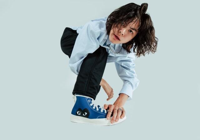 Sean Lew wearing Converse x PLAY Comme des Garçons Chuck 70 - Blue Quartz High Top