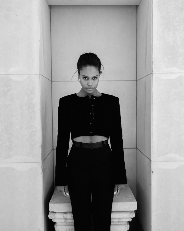 Taylour Paige in Chanel's wool tweed jacket; Esaú Yori's wool, cotton and polyamide pants.
