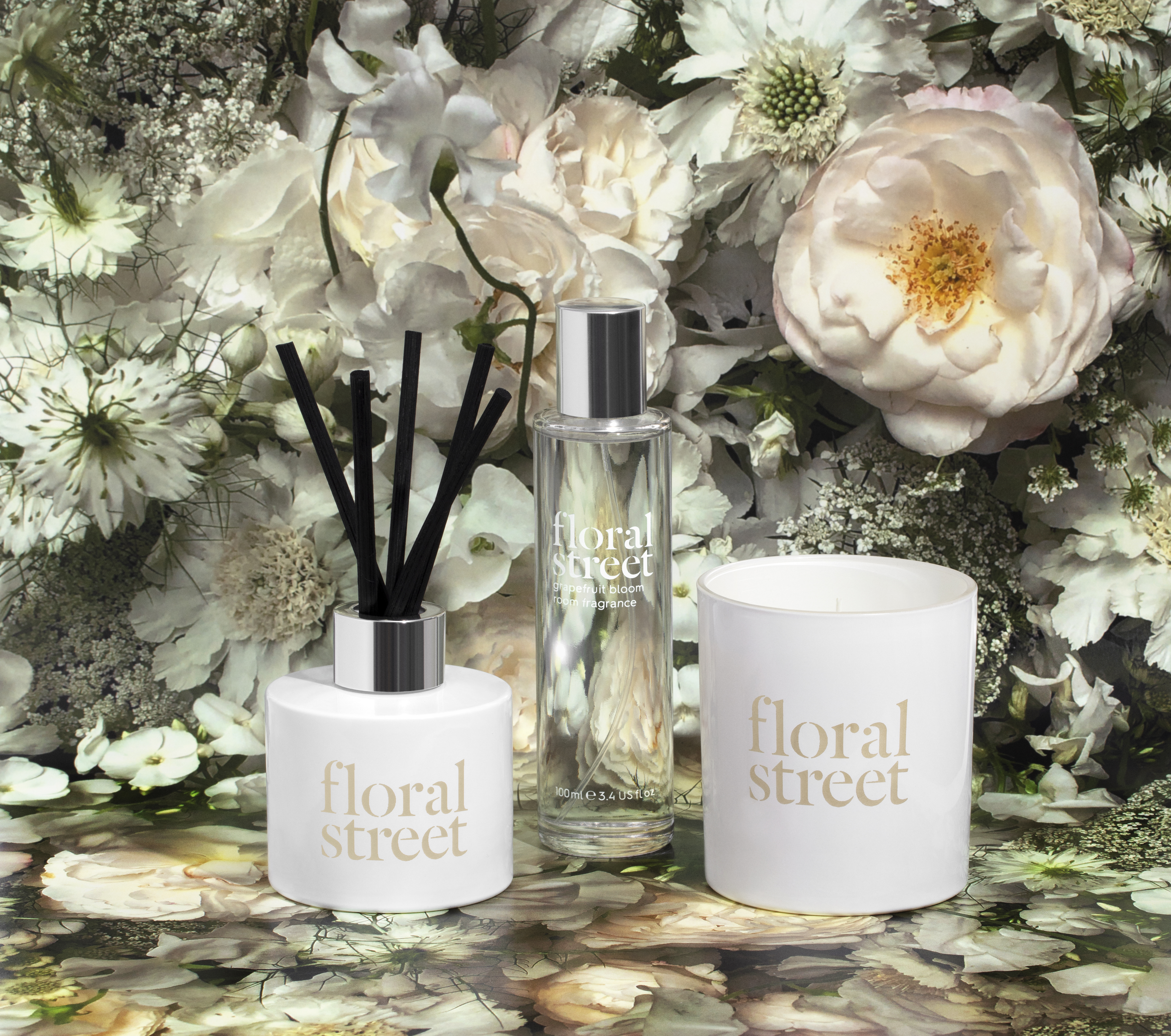 The White Florals home candle, diffuser and spray from Floral Street.