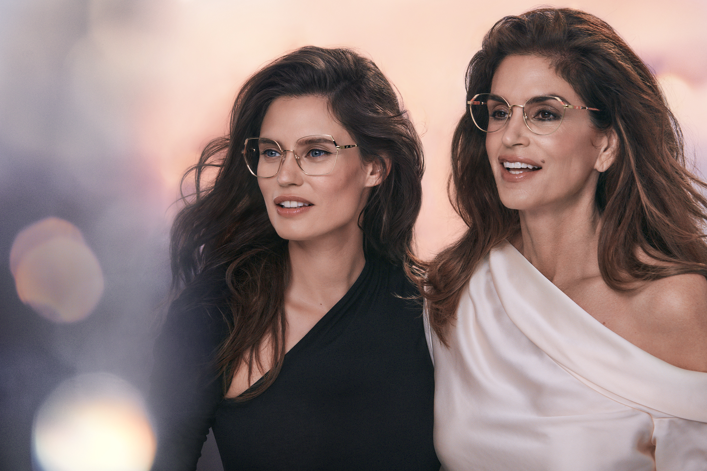 Cindy Crawford and Bianca Balti fronting the ad campaign for De Rigo's newly launched Yalea house brand.