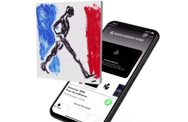 Paris Fashion Week accreditations feature NFT artwork.