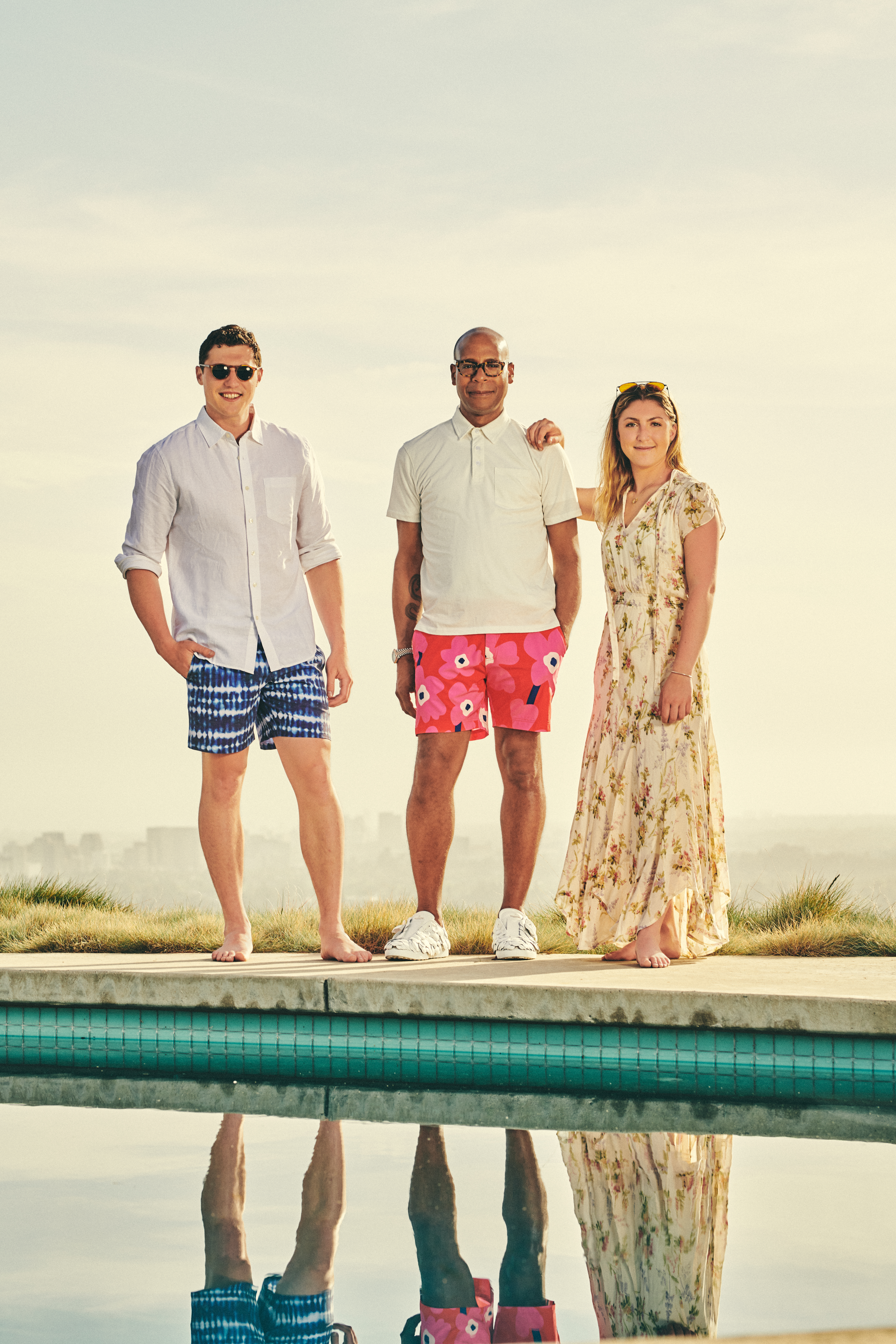 Durand Guion (center) in a look from his capsule for Jake and Caroline Danehy of Fair Harbor.