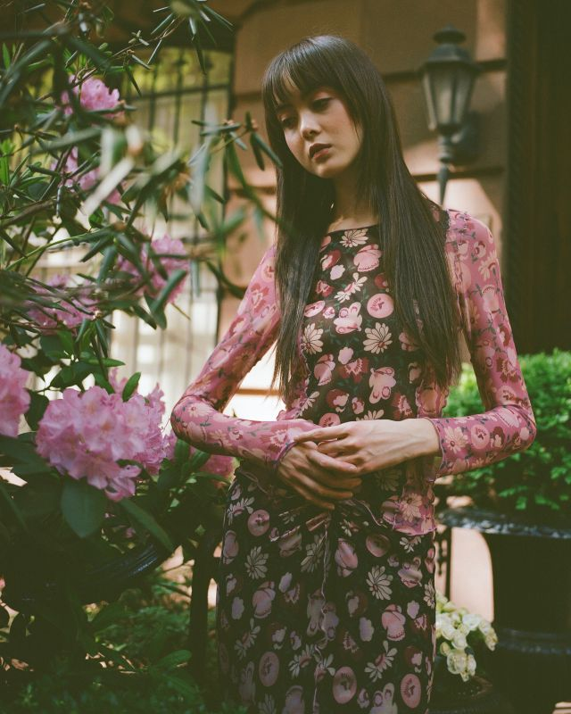 A look from Anna Sui's new mesh capsule for Neiman Marcus