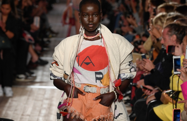 Adut Akech walks the runway in a look from the Isabel Marant Spring 2020 RTW collection.