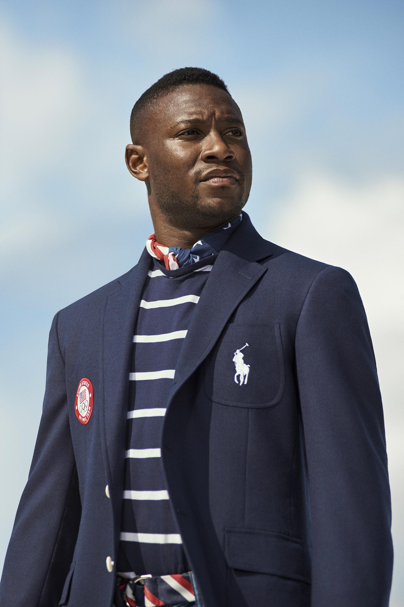 Fencer Daryl Homer in Ralph Lauren's Olympic uniform.