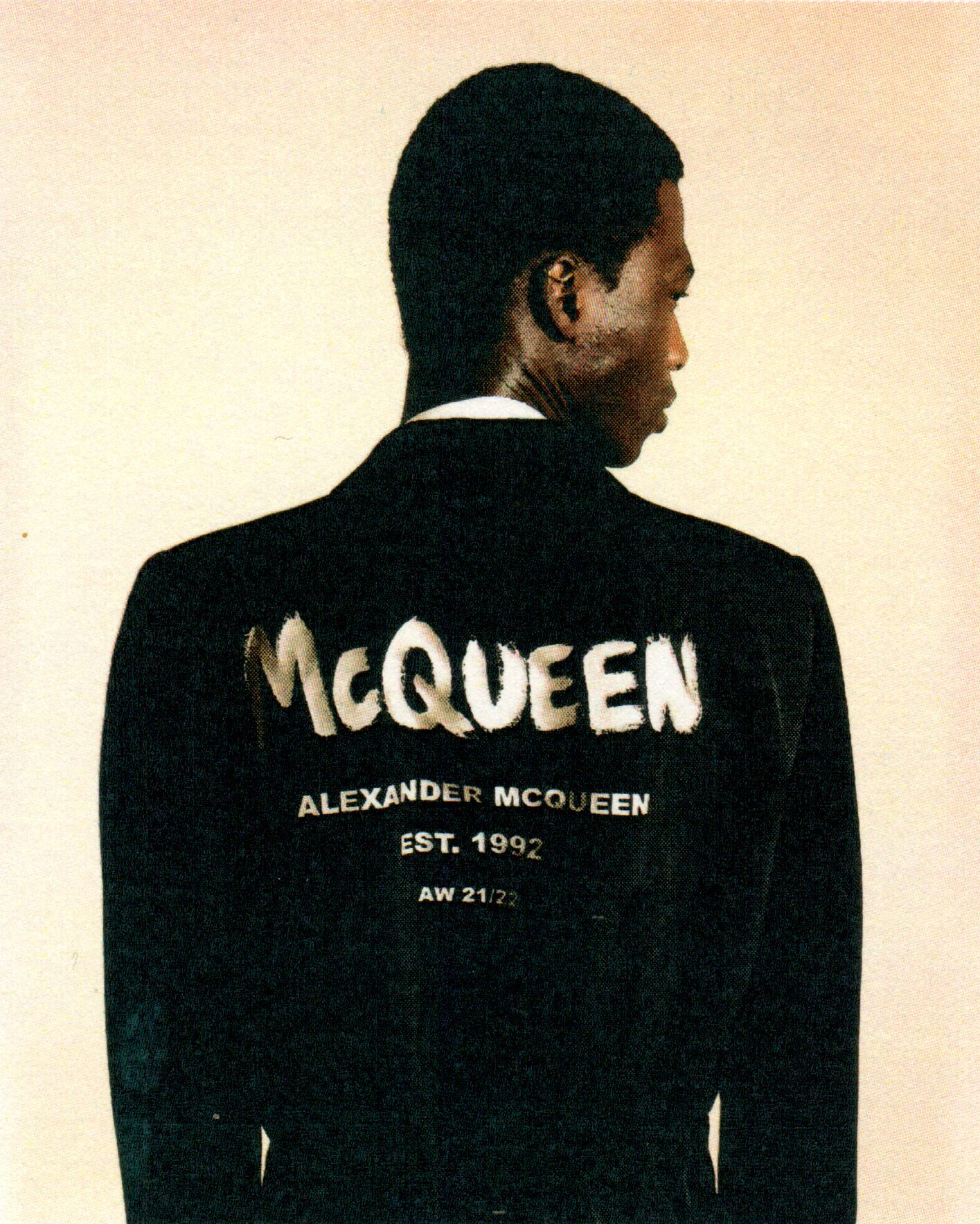 A jacket with McQueen graffiti
