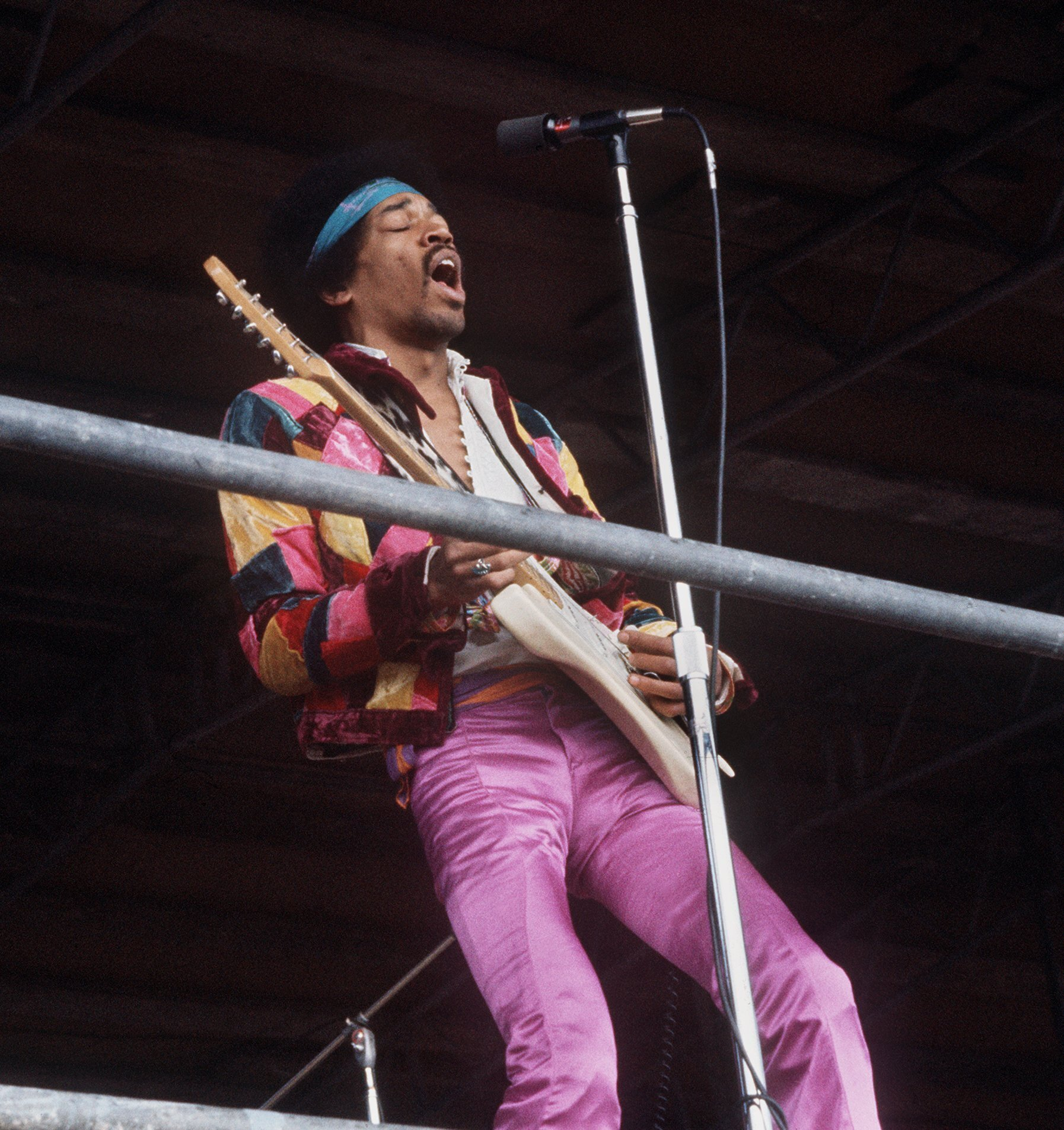 US rock singer and guitarist Jimi Hendrix ('Hey Joe', 'Purple Haze') pictured during his concert on the island Fehmarn in the Baltic Sea, West Germany, 1970.   usage worldwide Photo by: Dieter Klar/picture-alliance/dpa/AP Images