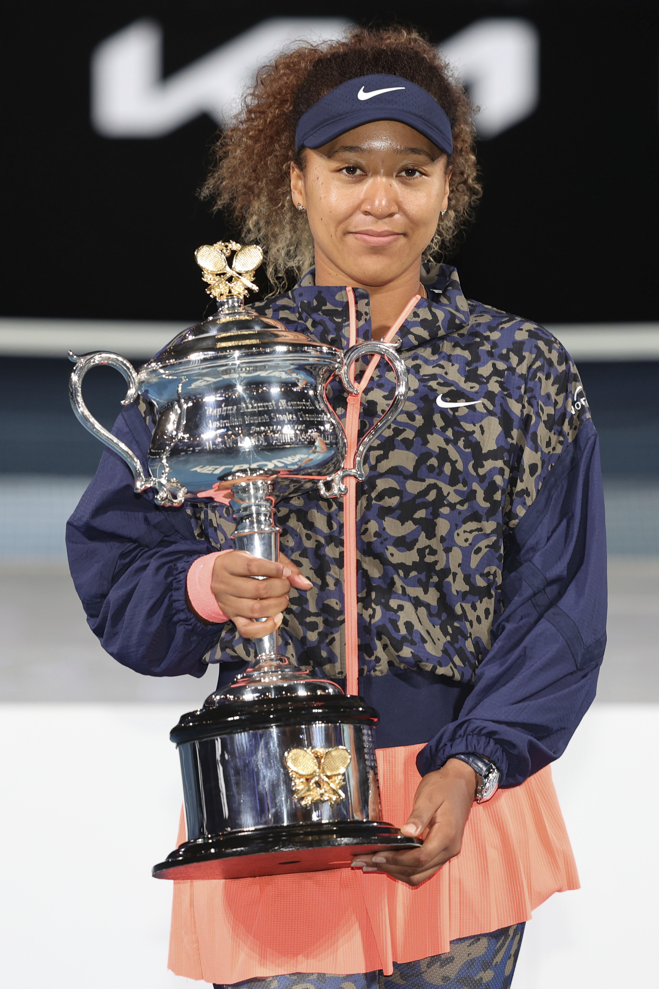 3rd seed Naomi OSAKA of Japan poses for photographs after defeating 22nd seed Jennifer BRADY of the USA in the Women's Singles Final match on day 13 of the 2021 Australian Open on Rod Laver Arena, in Melbourne, Australia. Sydney Low/Cal Sport Media.(Credit Image: © Sydney Low/CSM via ZUMA Wire) (Cal Sport Media via AP Images)