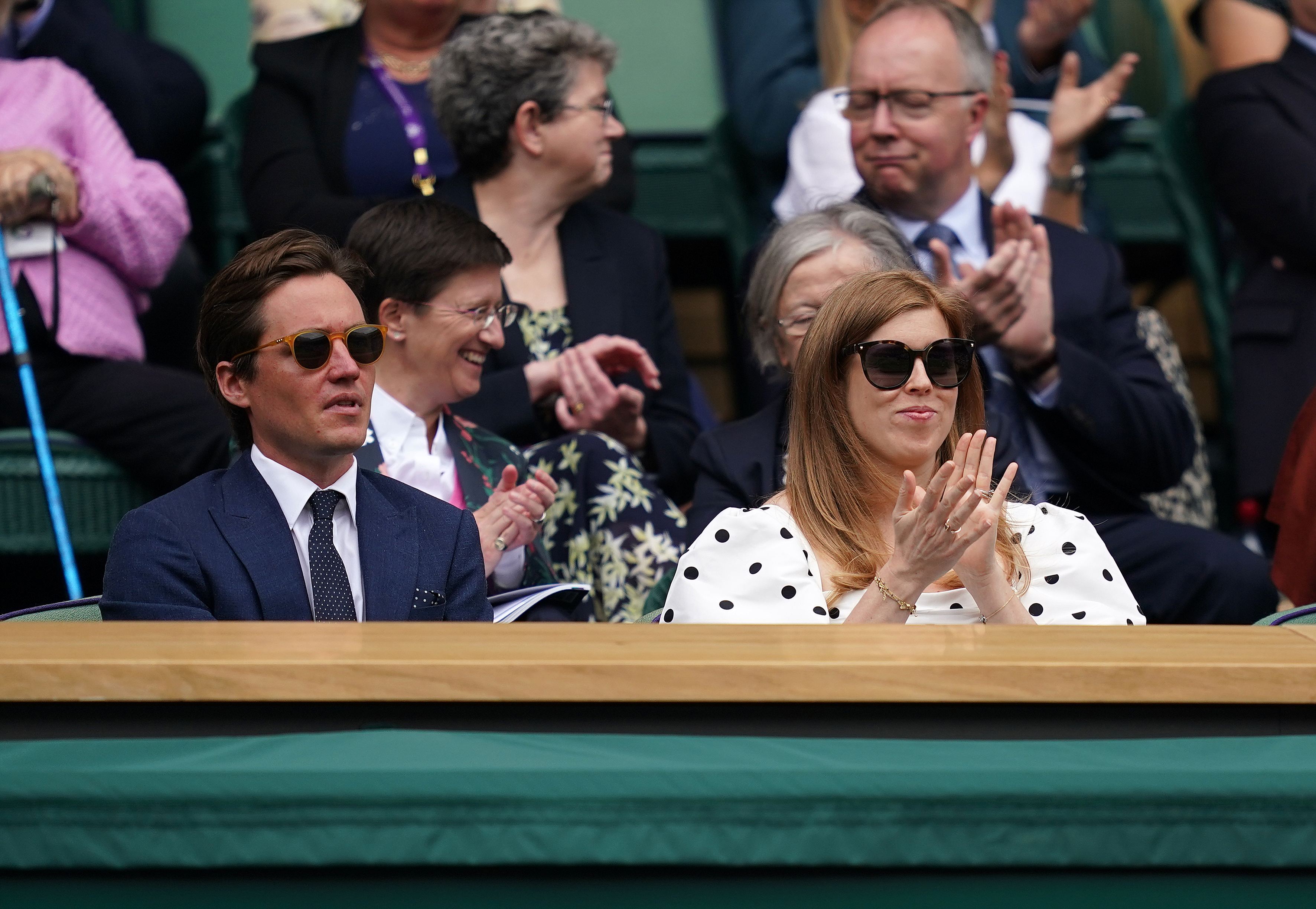Wimbledon 2021 - Day Ten - The All England Lawn Tennis and Croquet Club. Edoardo Mapelli Mozzi, Princess Beatrice and Annabelle Galletley in the Royal Box at Centre Court on day ten of Wimbledon at The All England Lawn Tennis and Croquet Club, Wimbledon. Picture date: Thursday July 8, 2021. See PA story TENNIS Wimbledon. Photo credit should read: John Walton/PA Wire RESTRICTIONS: Editorial use only. No commercial use without prior written consent of the AELTC. Still image use only - no moving images to emulate broadcast. No superimposing or removal of sponsor/ad logos. URN:60819919 (Press Association via AP Images)