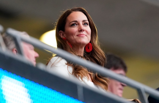 Italy v England - UEFA Euro 2020 Final - Wembley Stadium. The Duchess of Cambridge in the stands ahead the UEFA Euro 2020 Final at Wembley Stadium, London. Picture date: Sunday July 11, 2021. See PA story SPORT England. Photo credit should read: Mike Egerton/PA Wire. RESTRICTIONS: Use subject to restrictions. Editorial use only, no commercial use without prior consent from rights holder. URN:60883922 (Press Association via AP Images)