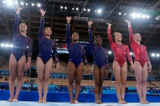 A Closer Look at Team USA Women's Swarovski-embellished Gymnastics Leotards