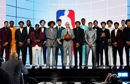 NBA Commissioner Adam Silver, center, poses for a photo with players projected to be first-round draft picks before the NBA basketball draft, Thursday, July 29, 2021, in New York. (AP Photo/Corey Sipkin)