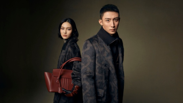 The Bally fall 2021 ad campaign starring Johnny Huang and supermodel Zhao Jiali.