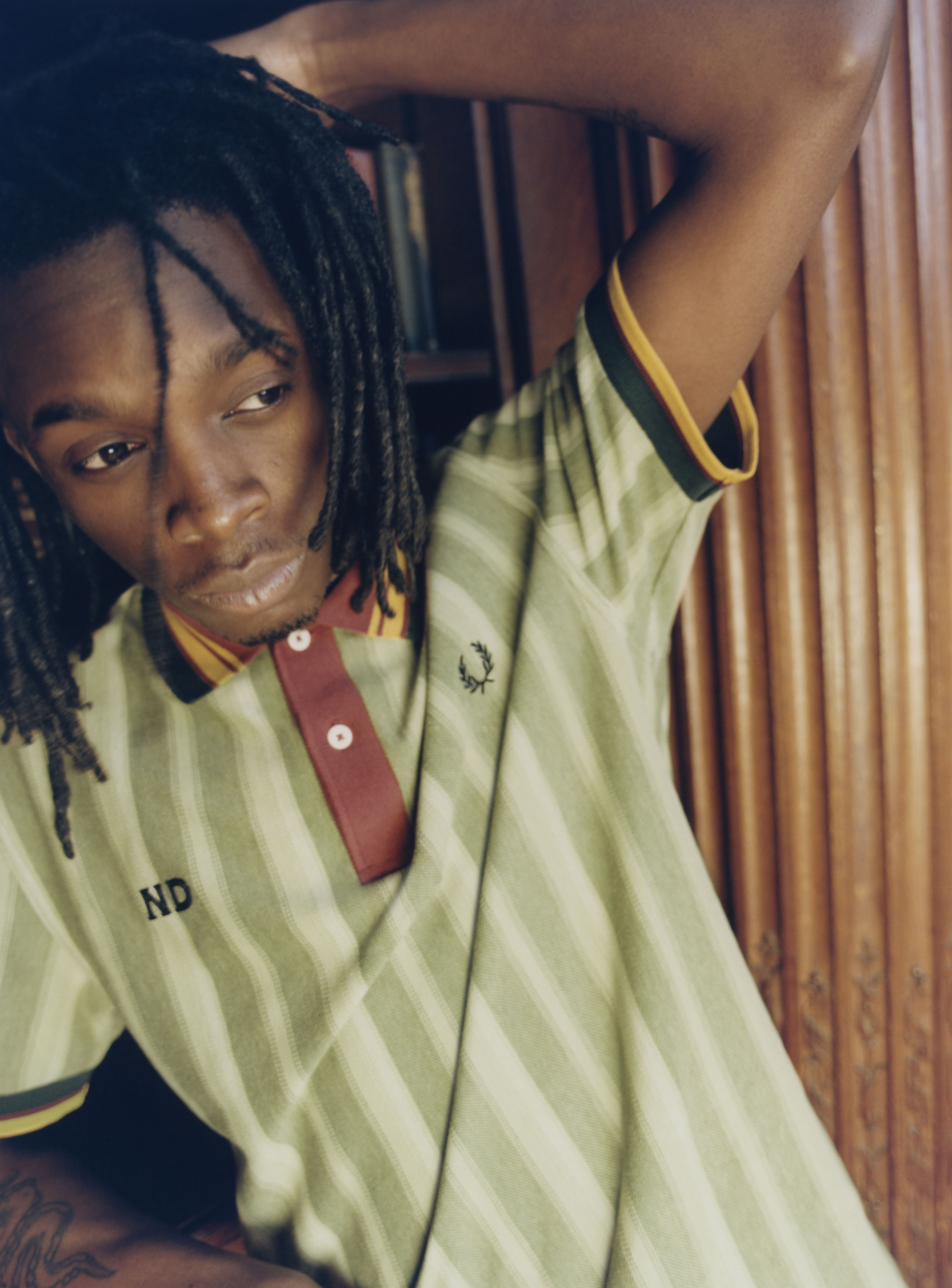 A look from Fred Perry x Nicholas Daley capsule