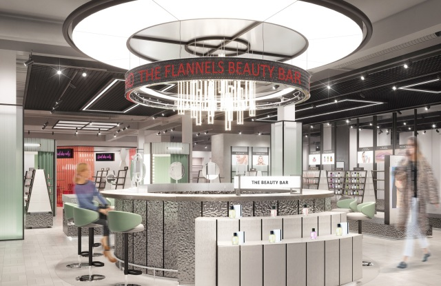 A rendering of the new beauty bar at the new Flannels beauty hall