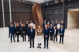 Bernard Arnault and LVMH executives at the Worldwide Engagements for Métiers d'Excellence signing ceremony.
