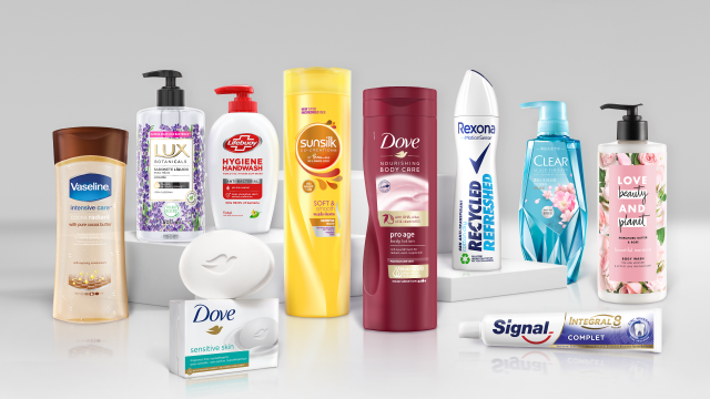 Unilever beauty and personal care products.