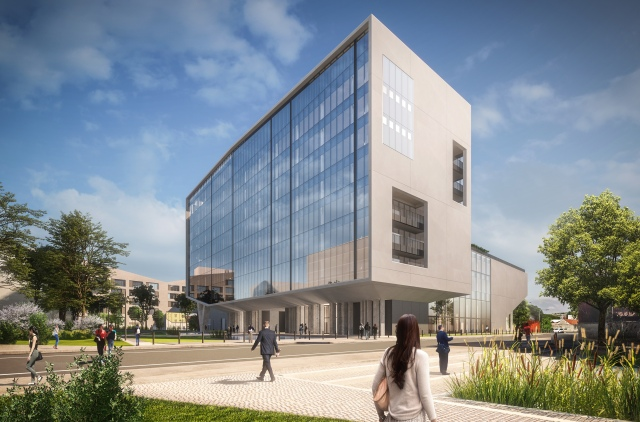A rendering of Building D housed at the Symbiosis business district in Milan.
