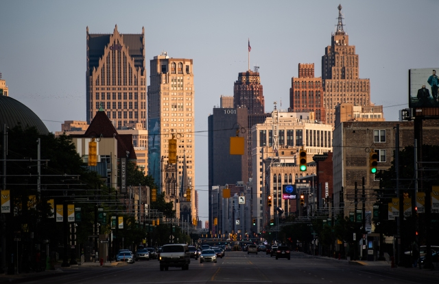 DETROIT, MI - AUGUST 12: Downtown Detroit's skyscrapers are seen from Woodward Ave during sunset on Sunday, August 12, 2018, in Detroit, MI. (Photo by Salwan Georges/The Washington Post via Getty Images)