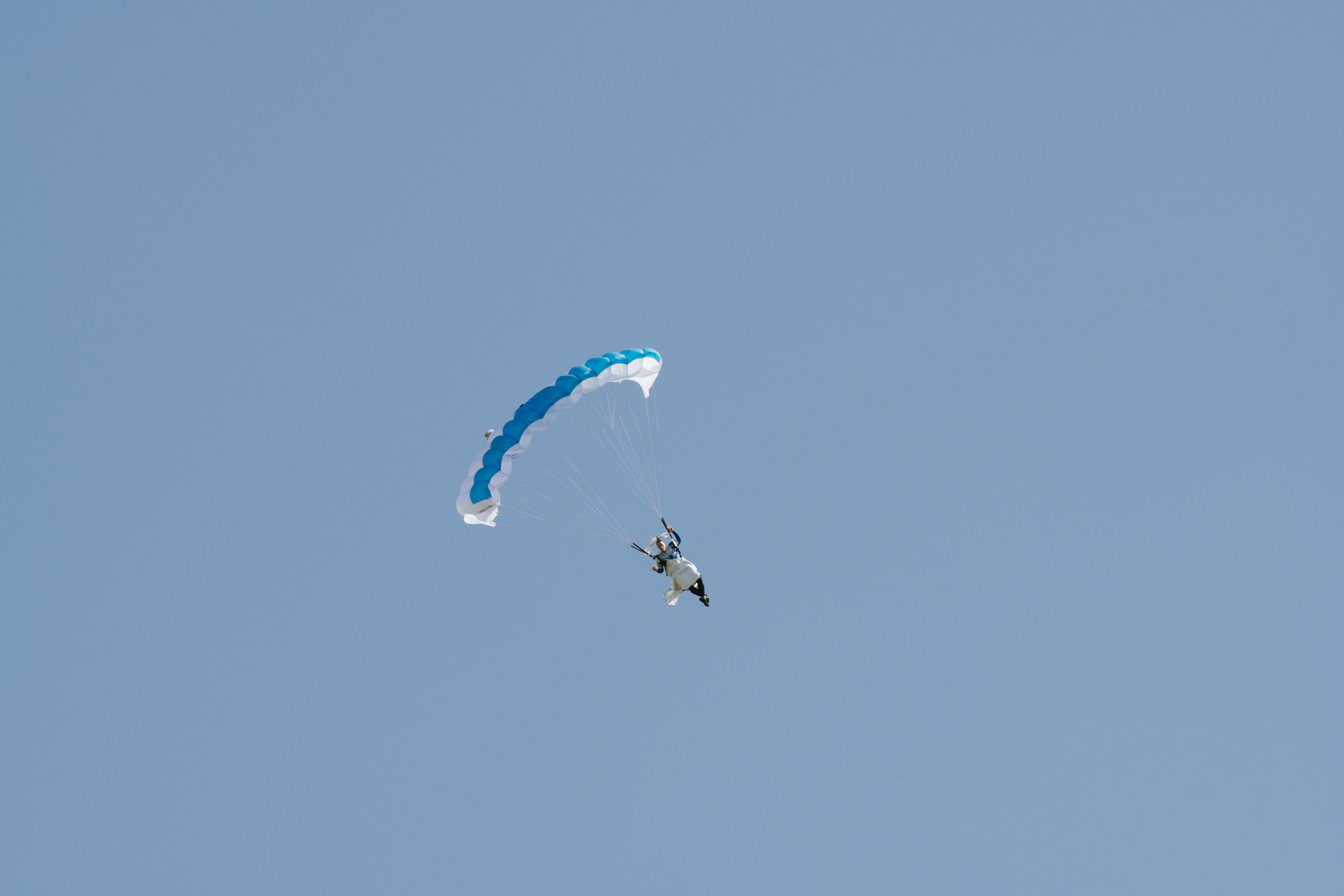Skydiver Domi Kiger in Iris Van Herpen couture.