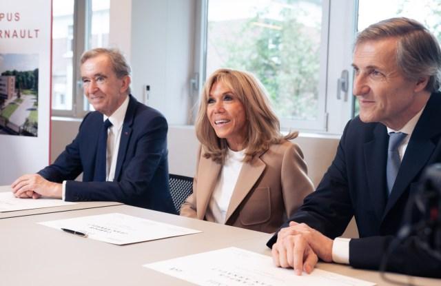 Bernard Arnault, Brigitte Macron and Bruno de Pampelonne.