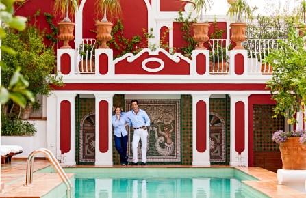 Marina Sersale and Sebastián Alvarez Murena at Hotel Le Sirenuse in Positano, Italy.