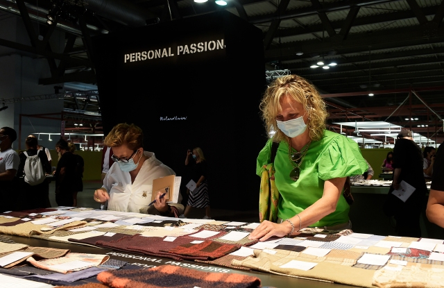 The scene inside the Milano Unica textile trade show 33rd edition running July 6 to 7, 2021.