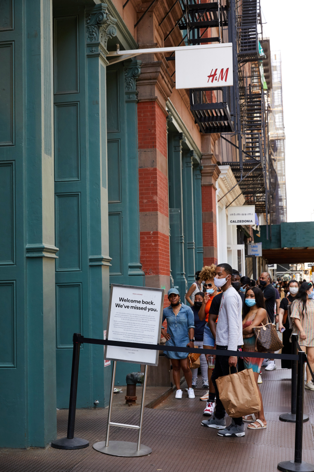 Shoppers return to the streets of New York.