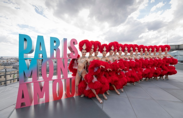 Moulin Rouge dancers at the Paris Mon Amour campaign on the Galeries Lafayette rooftop.