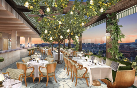 A render of Soho House Rome's rooftop restaurant