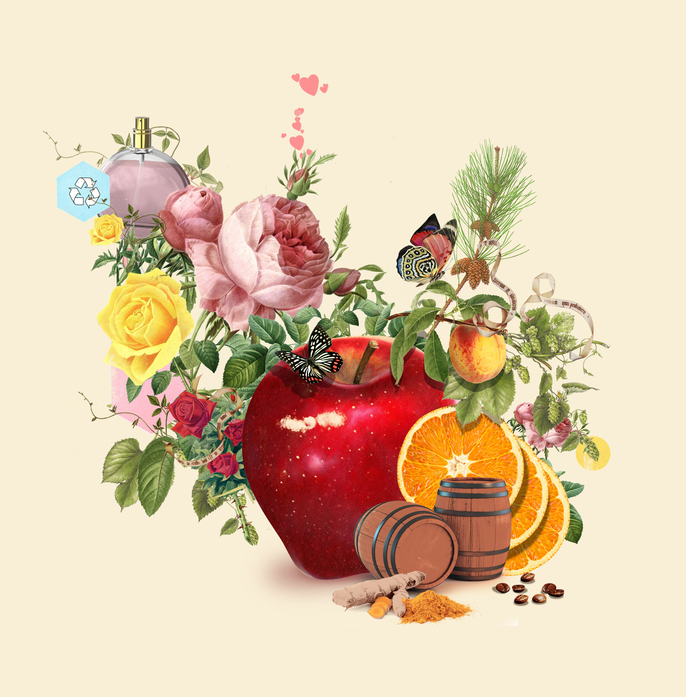 Fruits, flowers, woods and more are being upcycled for use in fragrance and cosmetics products.