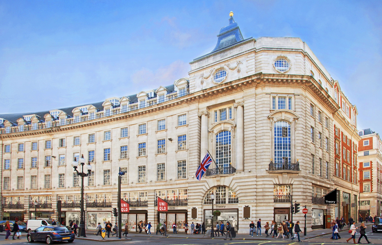 A rendering of the first combined Uniqlo and Theory space that will open in spring 2022 on Regent Street in London.