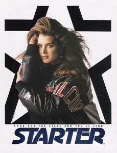 Brooke Shields apparaît dans les publicités pour Starter.