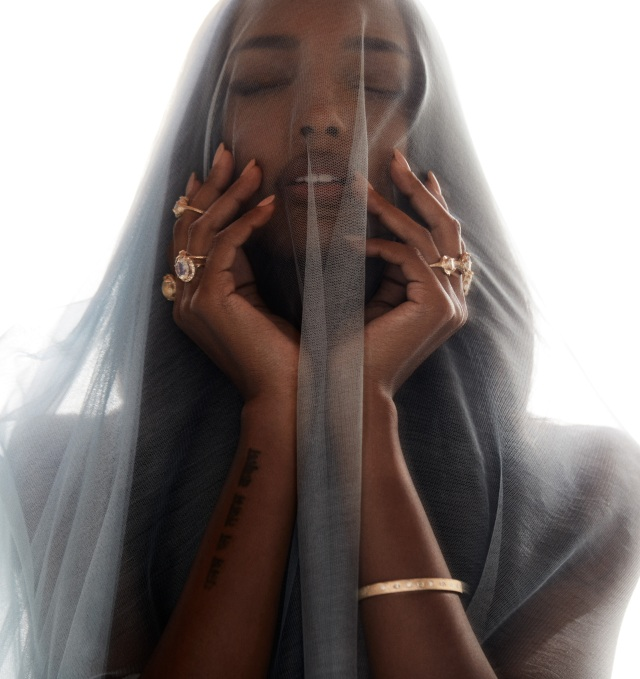 Jasmine Tookes for Logan Hollowell's debut bridal and engagement collection.