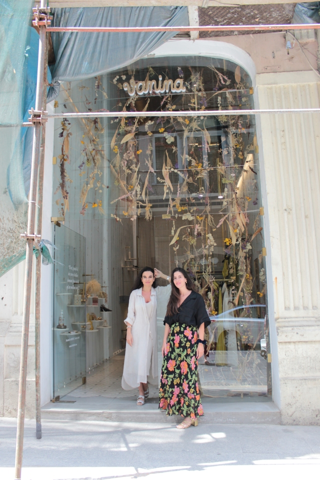 Vanina's cofounders Joanne Hayek and Tatiana Fayad in front of their brand's store in Beirut.