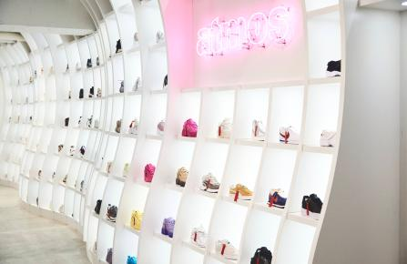 Atmos store sneakers on wall