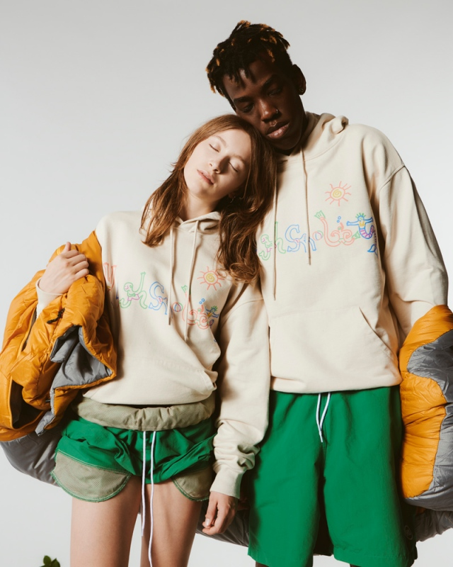 Two looks from from Highsnobiety's first-ever in-house collection.