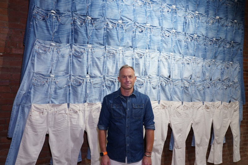Chad Kessler, President AE premium Brands, stands in American Eagle's new concept shop AE77 for premium jeans.