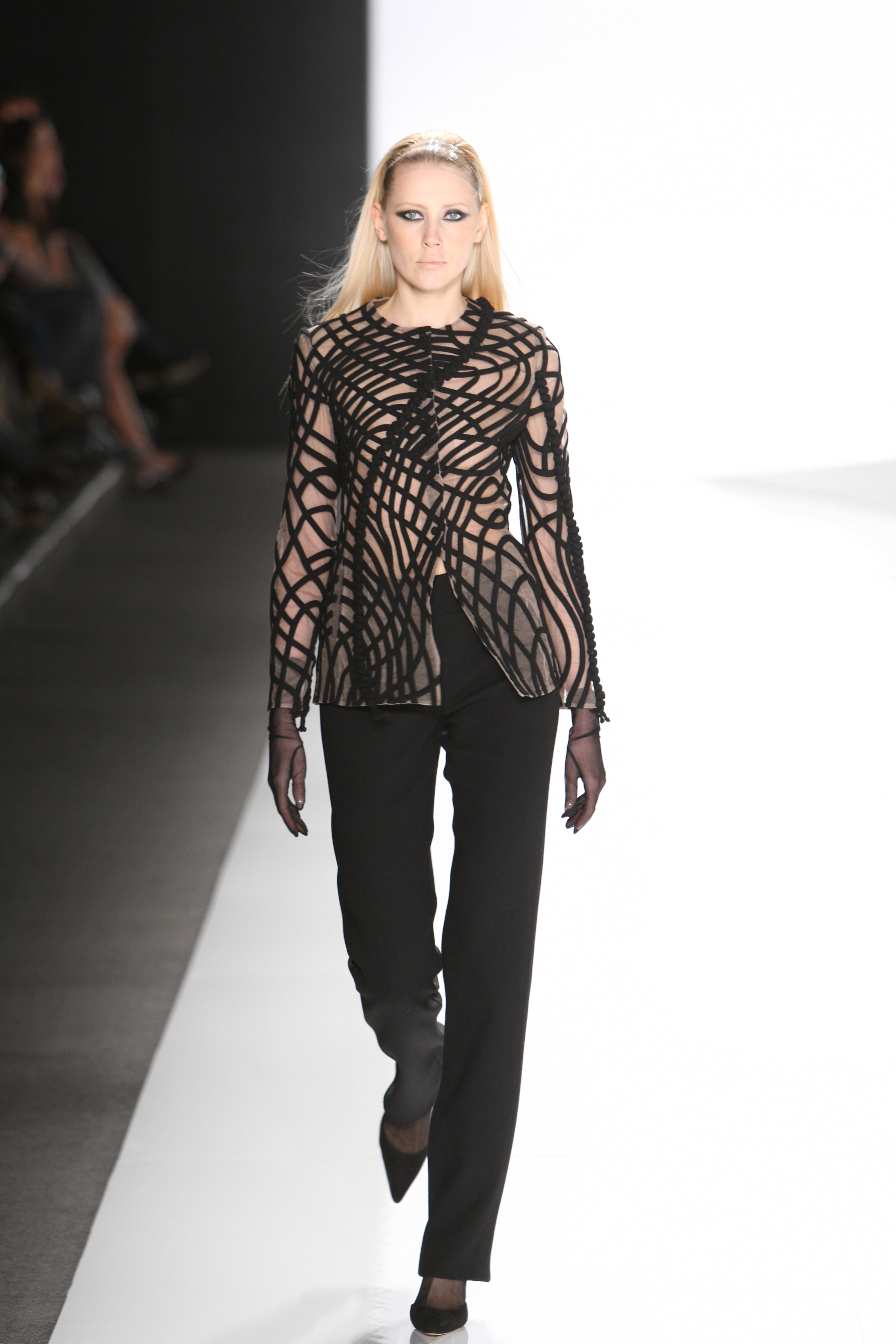 A model on the runway at Chado Ralph Rucci's fall 2009 show in New York City.